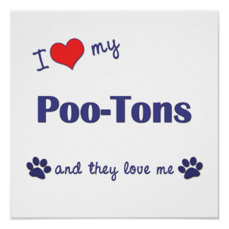 I Love My Poo-Tons Multiple Dogs Poster Print