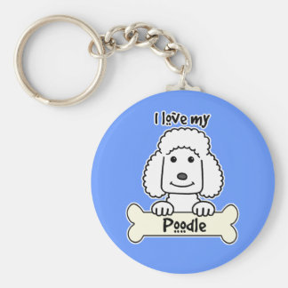 I Love My Poodle Basic Round Button Keychain