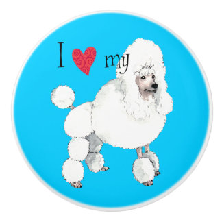 I Love my Poodle Ceramic Knob