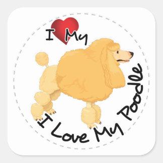 I Love My Poodle Dog Square Sticker