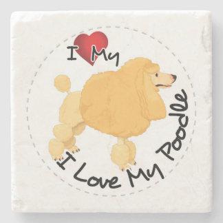 I Love My Poodle Dog Stone Beverage Coaster