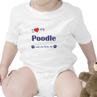 I Love My Poodle Female Dog Shirts