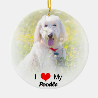 I Love My Poodle Heart Christmas Ornament