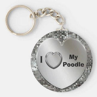 I Love My Poodle Heart Keychain