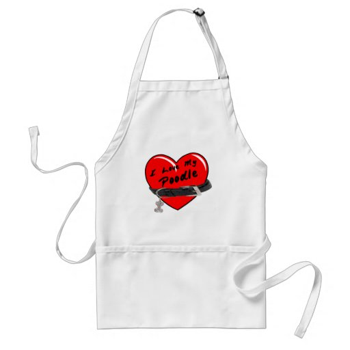 I Love My Poodle Heart with Dog Collar Aprons