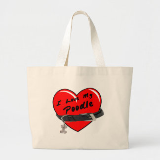 I Love My Poodle Heart with Dog Collar Canvas Bag