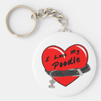 I Love My Poodle Heart with Dog Collar Keychain