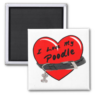 I Love My Poodle Heart with Dog Collar Refrigerator Magnet