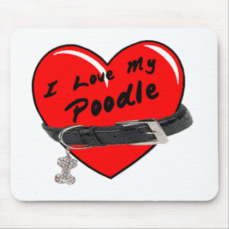 I Love My Poodle Heart with Dog Collar Mouse Pads