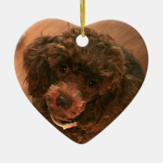 I love my Poodle Double-Sided Heart Ceramic Christmas Ornament