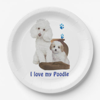 I love my poodle paper plate