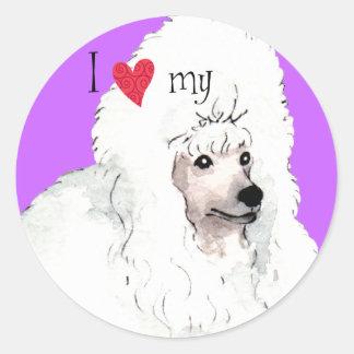 I Love my Poodle Round Sticker