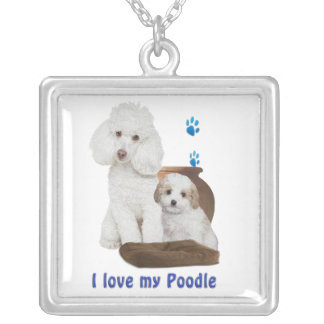 I love my poodle silver plated necklace