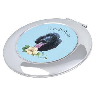 I Love My Poodle with flower Compact Mirrors