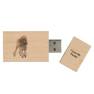 I Love My Poodle Wood USB Flash Drive