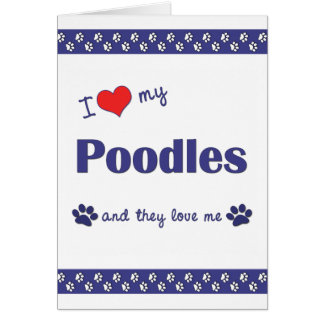 I Love My Poodles (Multiple Dogs) Note Card