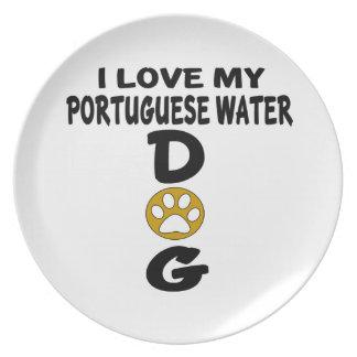 I Love My Portuguese Water Dog Dog Designs Plates