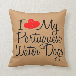 I Love My Portuguese Water Dogs Throw Pillow