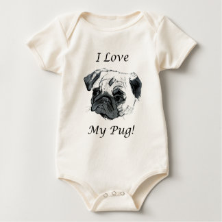 I Love My Pug! Baby Bodysuit