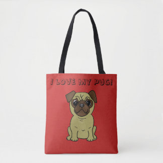I love my Pug Cute Dog Tote Bag