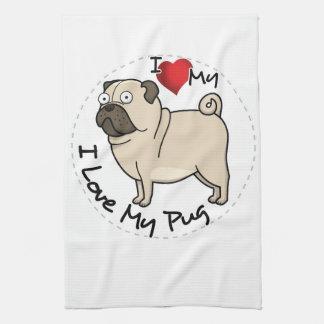 I Love My Pug Dog Kitchen Towel