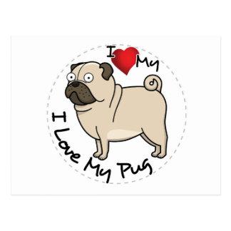 I Love My Pug Dog Postcard