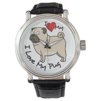 I Love My Pug Dog Watch