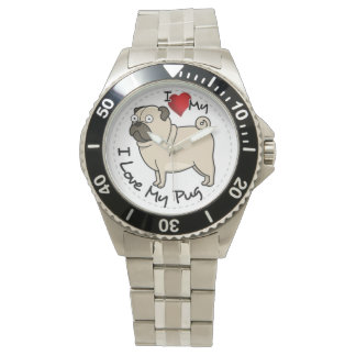 I Love My Pug Dog Wristwatches