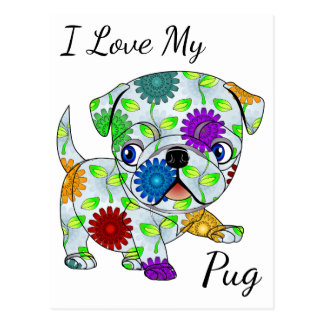 I Love My Pug Postcard