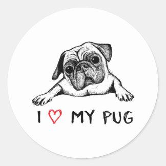 I Love My Pug Stickers