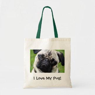 I love my pug! tote bag