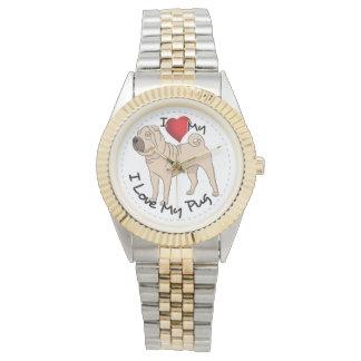 I Love My Pug Wristwatch