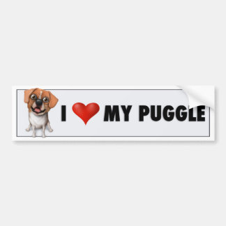 I Love My Puggle Bumper Sticker