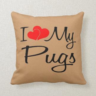 I Love My Pugs Throw Pillow