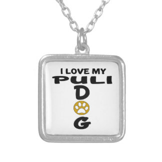 I Love My Puli Dog Designs Silver Plated Necklace