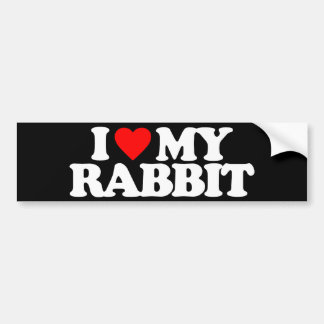 I LOVE MY RABBIT BUMPER STICKER