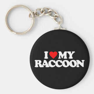 I LOVE MY RACCOON BASIC ROUND BUTTON KEYCHAIN