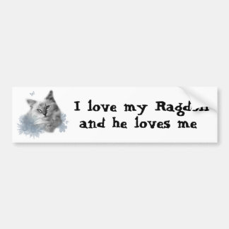 I love my Ragdoll, and he loves me bumper sticker