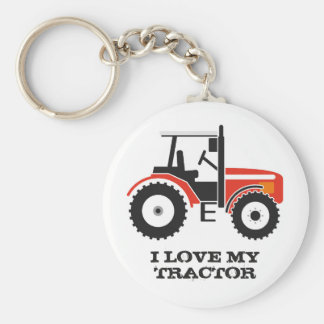 I Love My Red Tractor Key Ring
