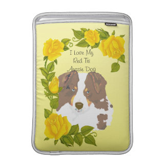 I Love My Red Tri Australian Shepherd, Yellow Rose MacBook Sleeve