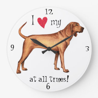 I Love my Redbone Coonhound Large Clock