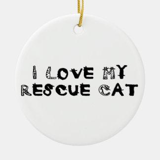 I Love My Rescue Cat Ceramic Ornament