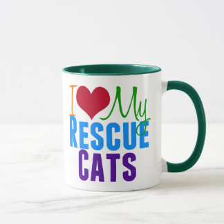 I Love My Rescue Cats Mug