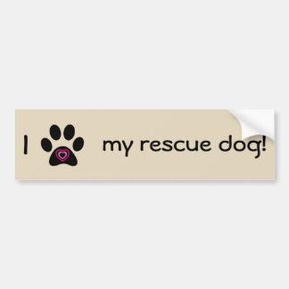 I Love My Rescue Dog Bumper Sticker