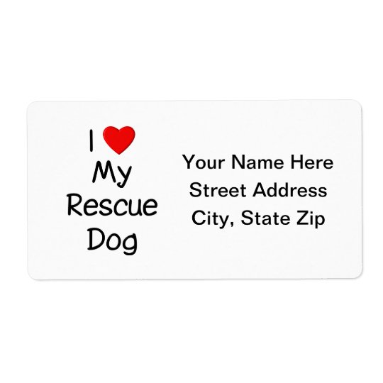 I Love My Rescue Dog Shipping Label