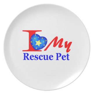 """I Love My Rescue Pet """"Heroes4Rescue"""" Plate"""