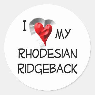 I Love My Rhodesian Ridgeback Classic Round Sticker