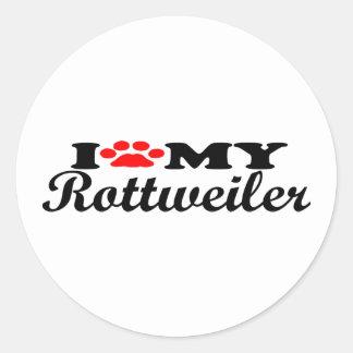I Love My Rottweiller Classic Round Sticker