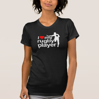I Love My Rugby Player Black T-Shirt