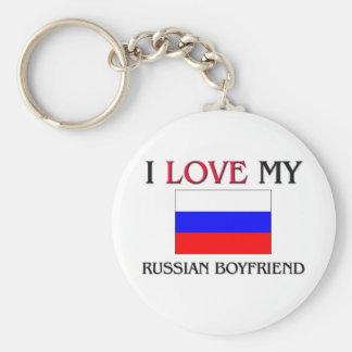 I Love My Russian Boyfriend Basic Round Button Keychain